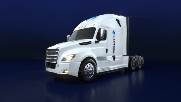 Computer Rendering of a white, long-haul ClearFlame branded semi truck cab